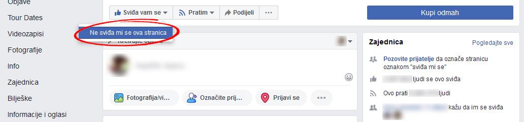 facebook ne sviđa mi se