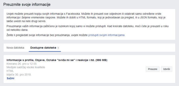 facebook informacije