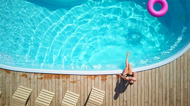 girl pool sunny
