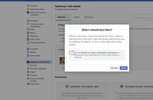 facebook ukloni aplikaciju